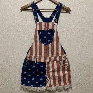 American Rag American Flag Short Overalls
